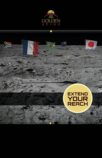 Golden Spike Flags on the Moon