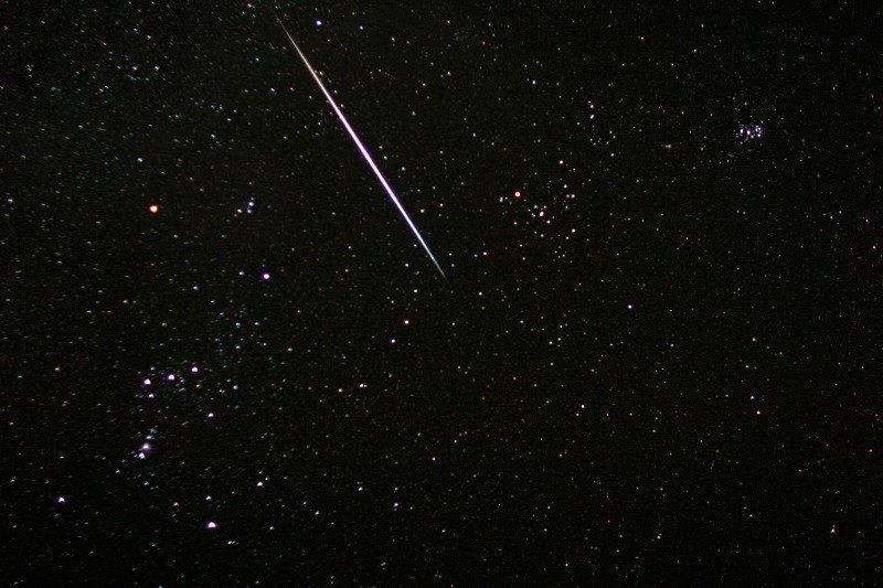 Dennis Mammana photo of Geminid meteoroid near Orion