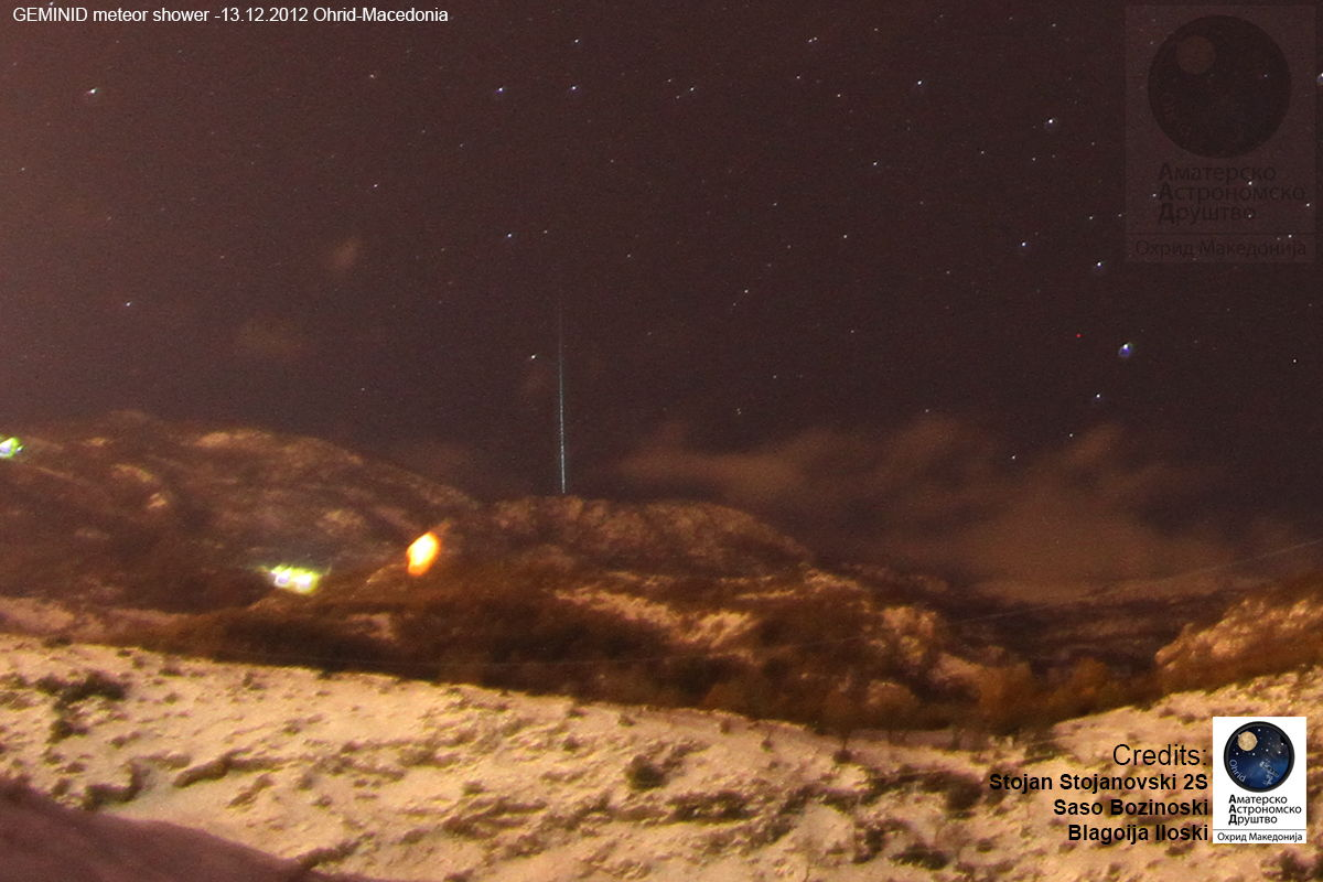 2012 Geminid Meteor Over Ohrid, Macedonia