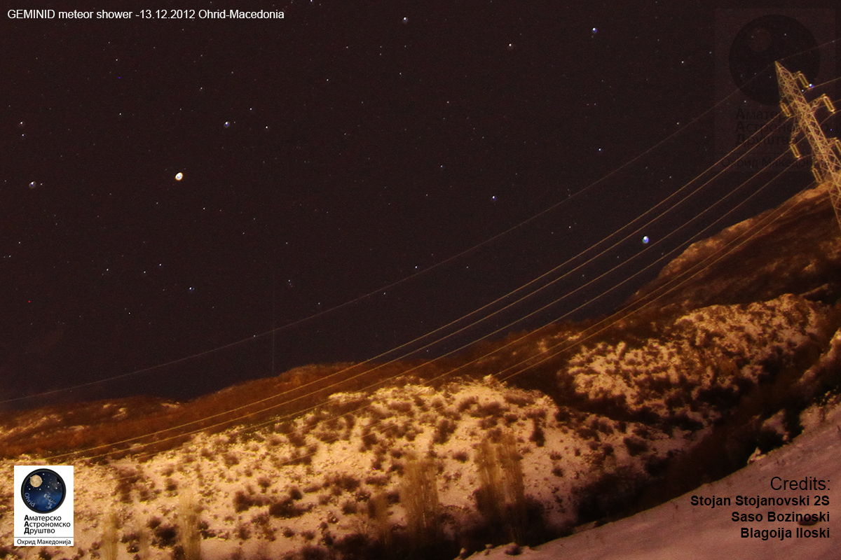 2012 Geminid Meteor Over Ohrid, Macedonia 2