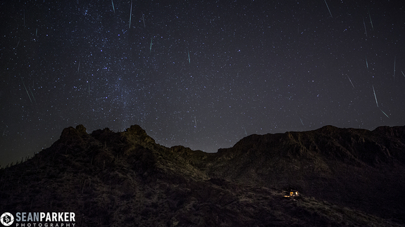"Astrophotographer Sean Parker captured this stunning shot — a composite of about 30 frames — just west of Tucson, Ariz., in the early hours of Dec. 13, 2012. ""This image took a lot of work, as I had to scroll through about 400 frames and find which frames had shooting stars in them, then cut out every meteor and blend,"" Parker said."