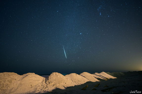 "Astrophotographer Jack Fusco sent in this photo of a Geminid meteor taken in Ocean City, NJ, on Dec. 14, 2012. He writes: ""The shower produced a high number of meteors and fireballs that lit up the sky. Hands down one of the [best] meteor showers in recent years."""