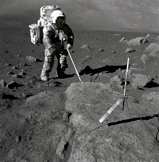 Space History Photo: Schmitt Covered with Lunar Dirt