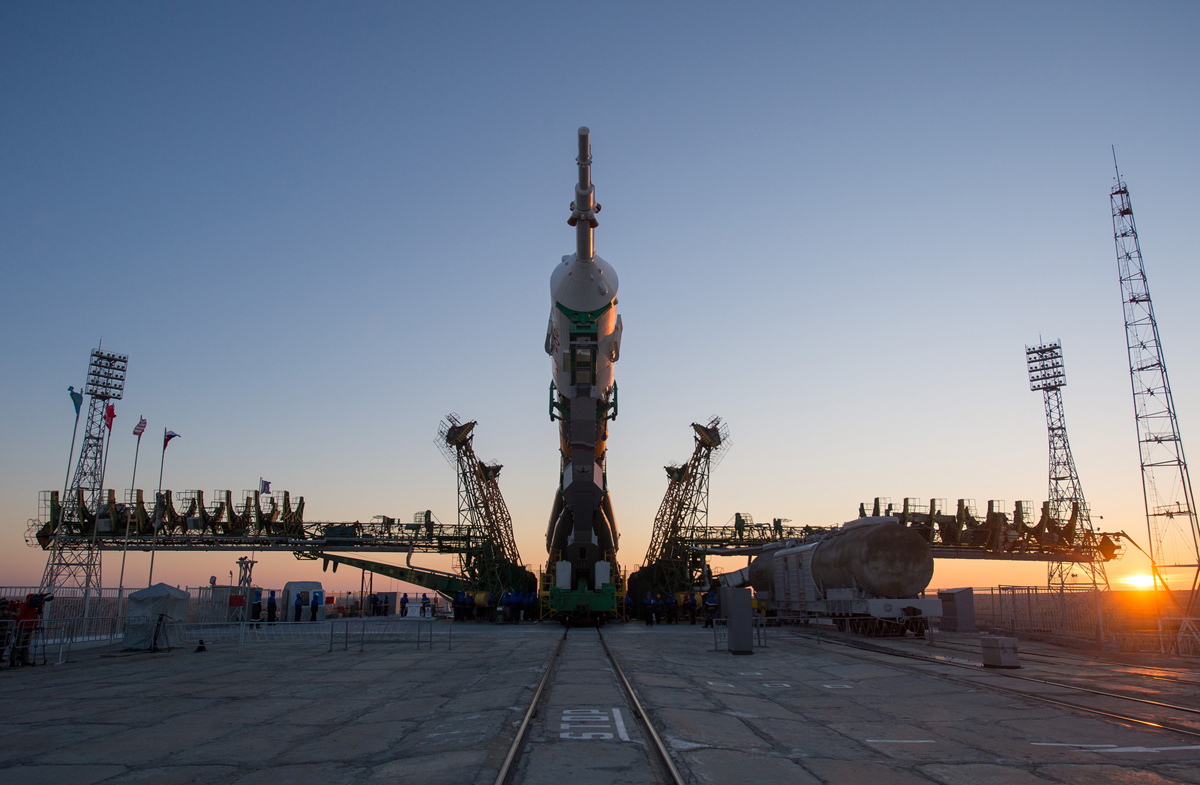 Expedition 34 Soyuz Rollout in Sunrise