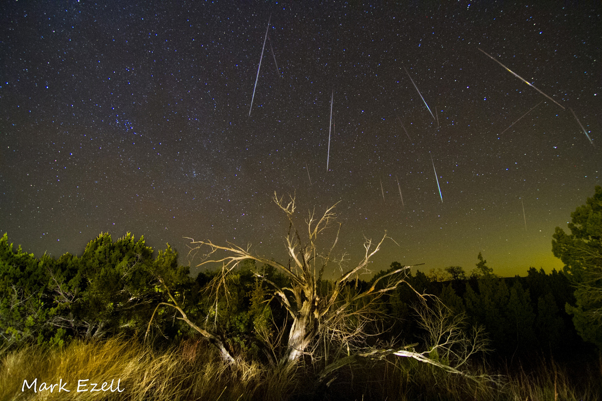 Composite Image of Gemind Meteors Over Lometa, TX