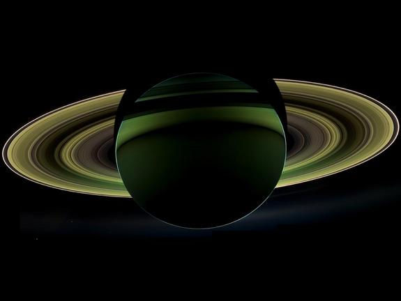 NASA's Cassini spacecraft captured this image of Saturn on Oct. 17, 2012, while in the planet's shadow. Cassini's cameras were turned toward Saturn and the sun so that the planet and rings are backlit.
