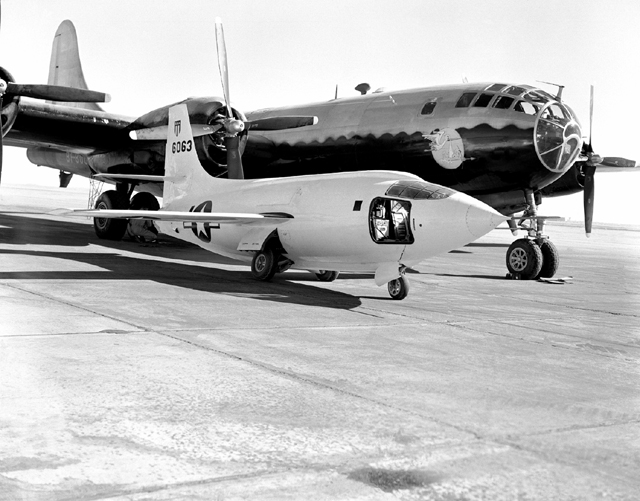 Space History Photo: X-1-2 on Ramp with Boeing B-29