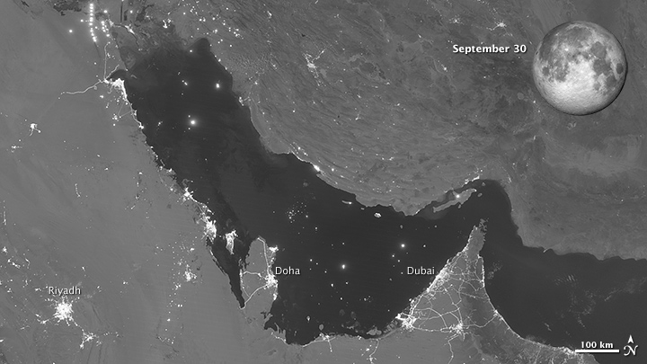 Moon Phases Over the Persian Gulf - September