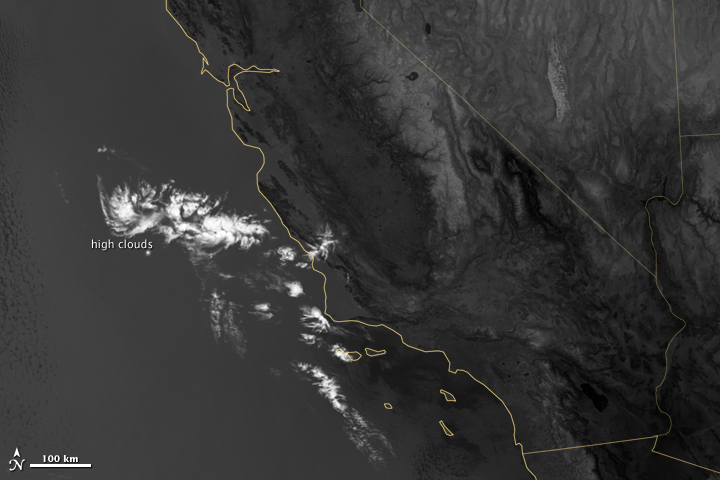Marine Layer Clouds off the California Coast in Thermal Imaging