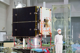 Japan unveils the Hayabusa2 asteroid probe on Dec. 26, 2012, during an event at JAXA's  Sagamihara Campus. The spacecraft will launch in 2014 to collect samples of the asteroid 1999 JU3.