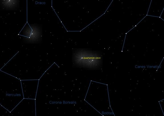 The Quadrantid meteor shower should give skywatchers looking up at the Eastern sky (shown here) a good show when it peaks in the early hours of Thursday morning (Jan. 3) this week.