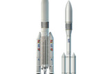 An artist's illustration of Europe's planned Ariane 5ME and Ariane 6 rockets. The Ariane 5ME (left), if approved, will fly later this decade, while Ariane 6 (right) may operate alongside Ariane 5ME in the early 2020s.
