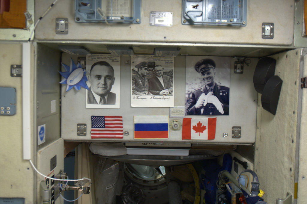 Flags of Expedition 34 on the International Space Station