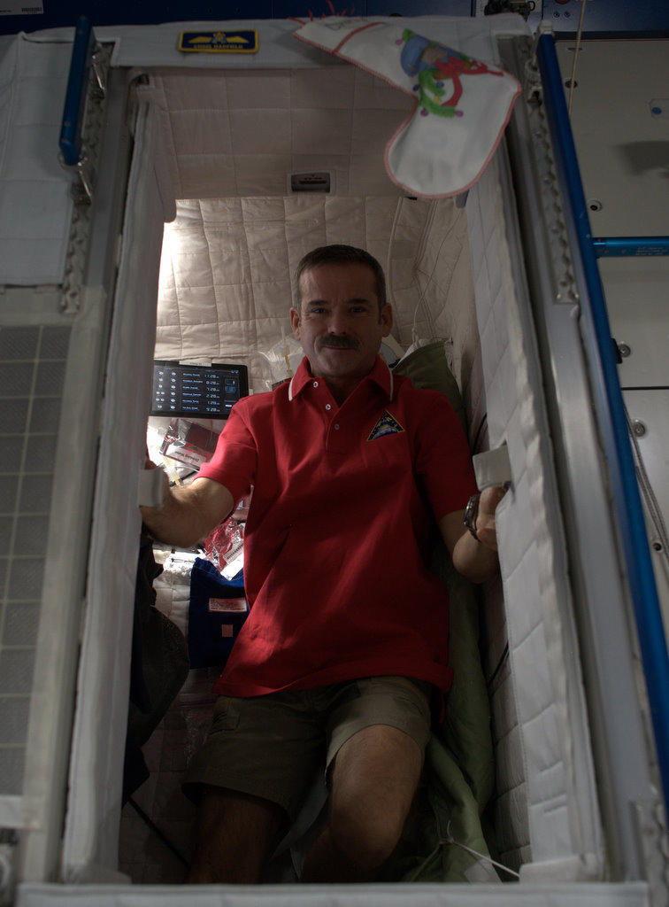 Chris Hadfield in ISS Sleep Pod