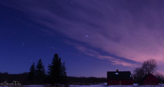 Astrophotographer Scott Tully sends us a shot of a Quadrantid meteor taken over the northwest hills of Connecticut on January 3, 2012.