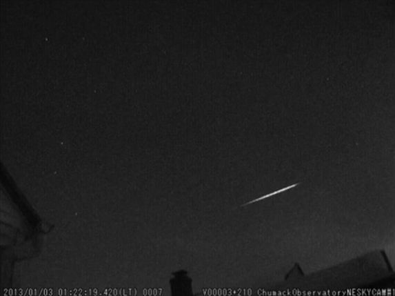 Quadrantid Meteor Over Ohio (Video Image)