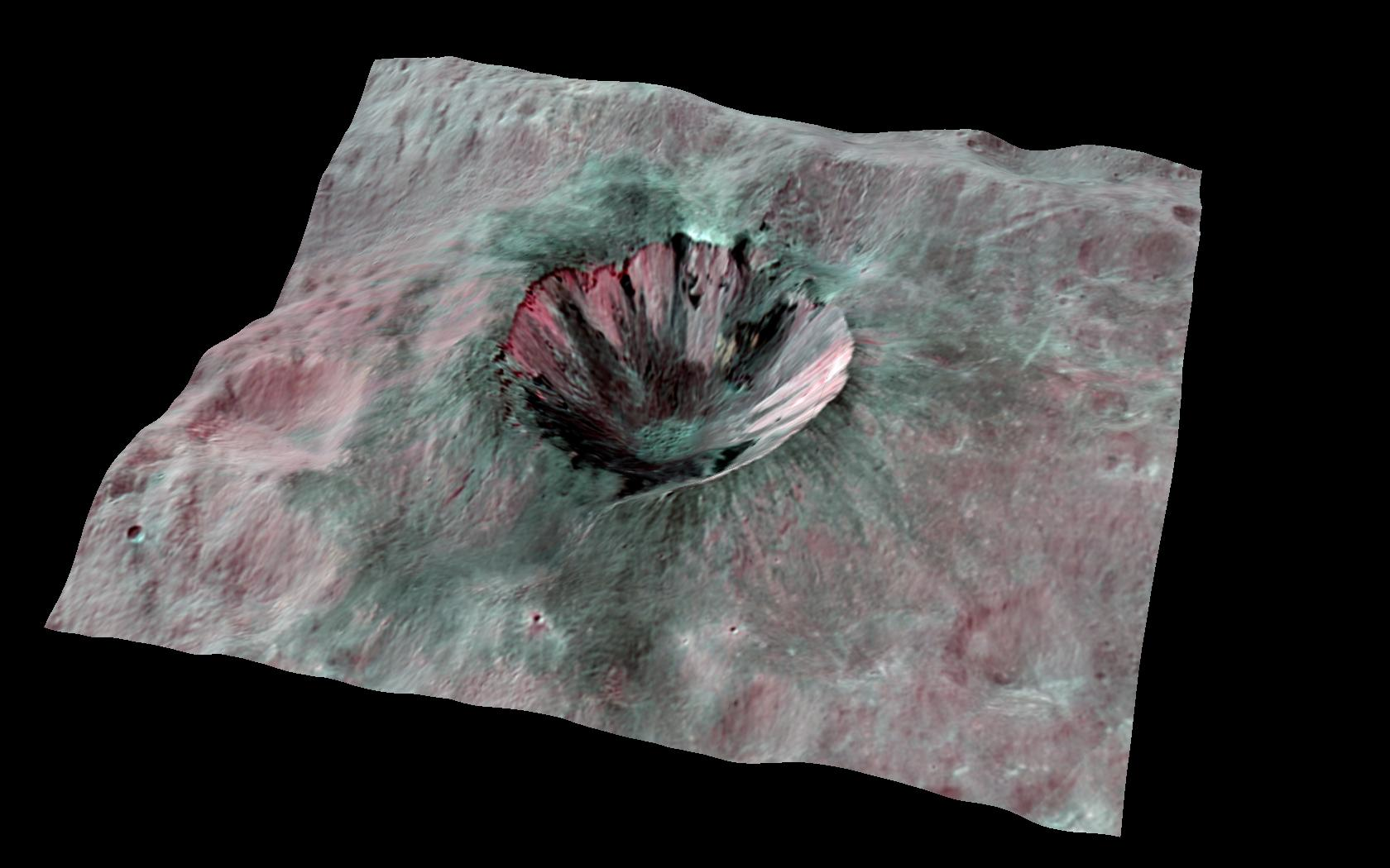 Crater on Huge Asteroid Vesta Gets 3D Treatment
