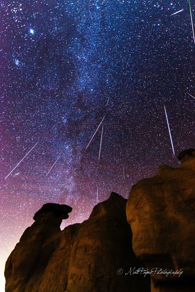 Geminid Meteors Over Paint Mines in Colorado