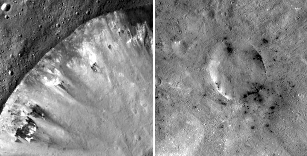 Vesta Dark Crater Rims