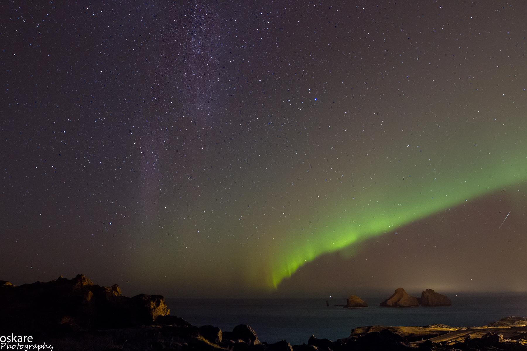 Milky Way, Aurora Borealis and a Meteor