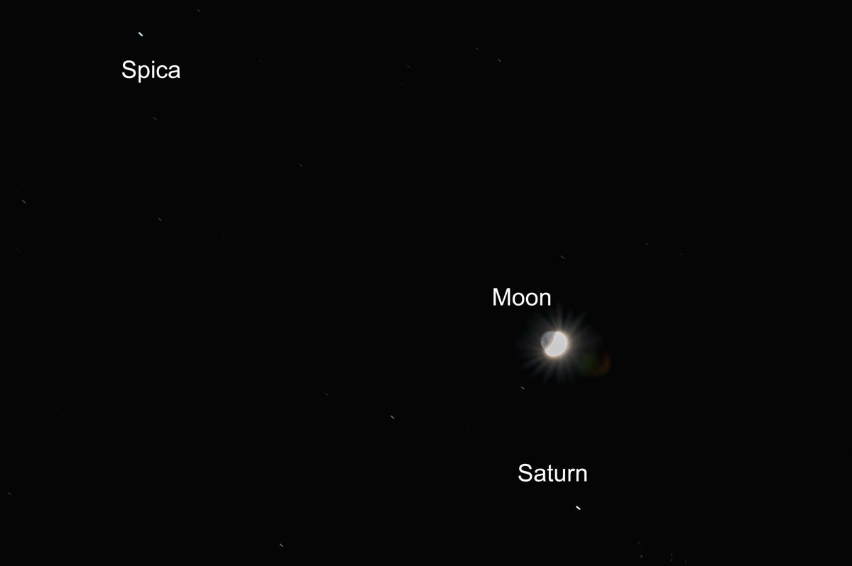 Moon, Saturn and Spica Over Melbourne, Australia