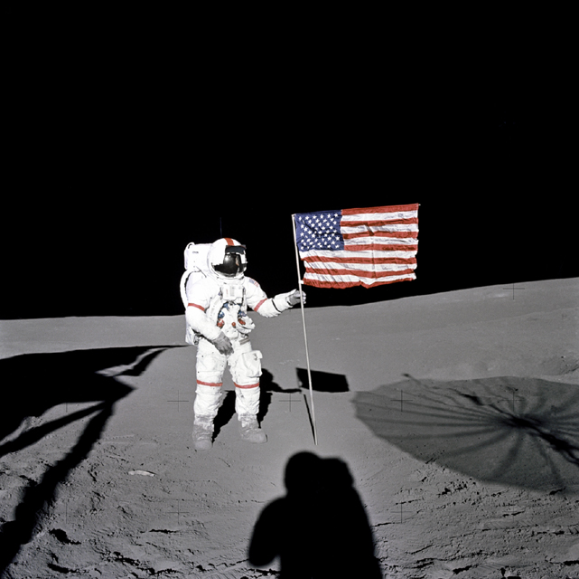 Space History Photo: Shepard Plants Flag