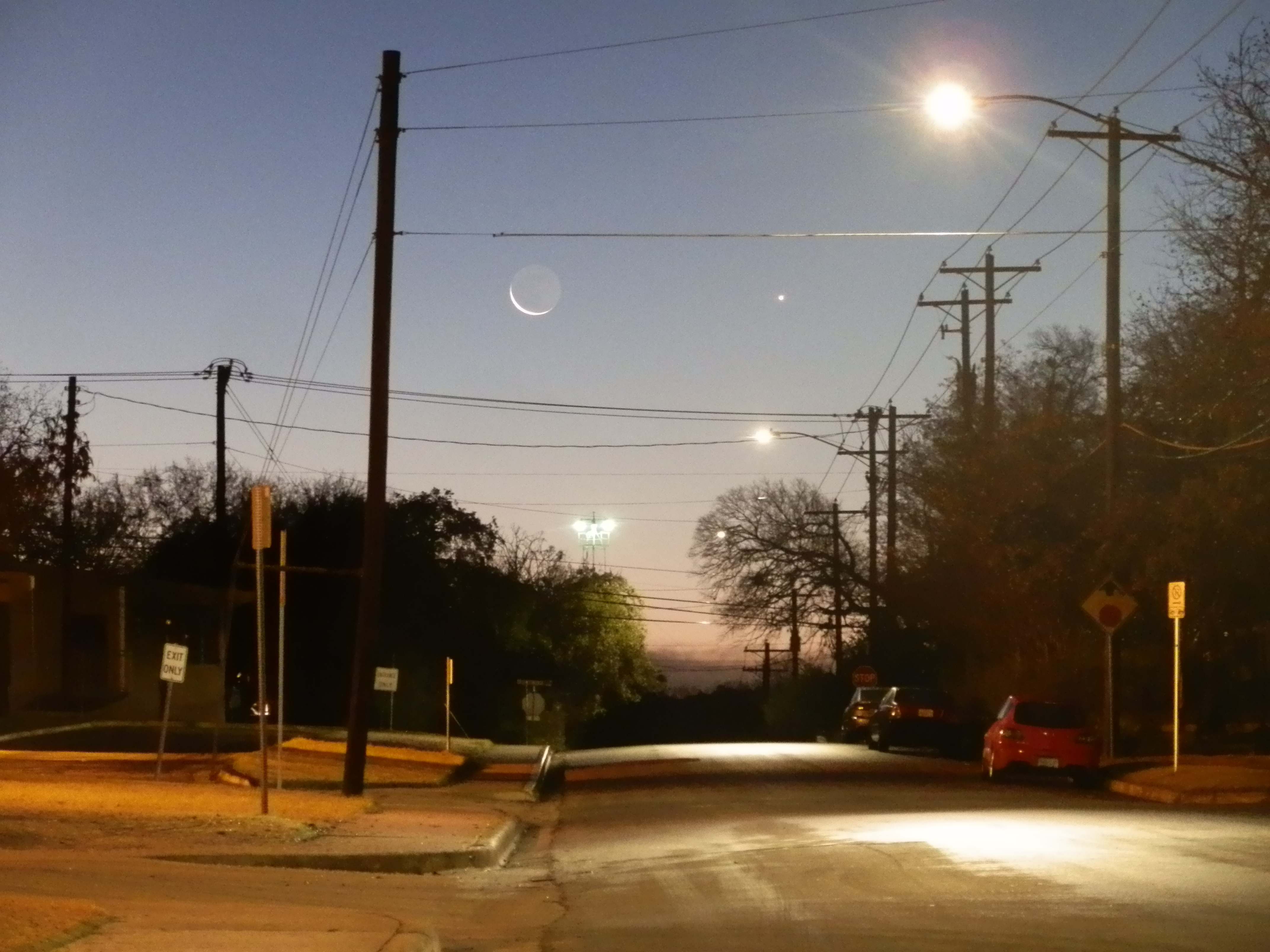 Moon and Venus Over Austin's Moonlight Towers