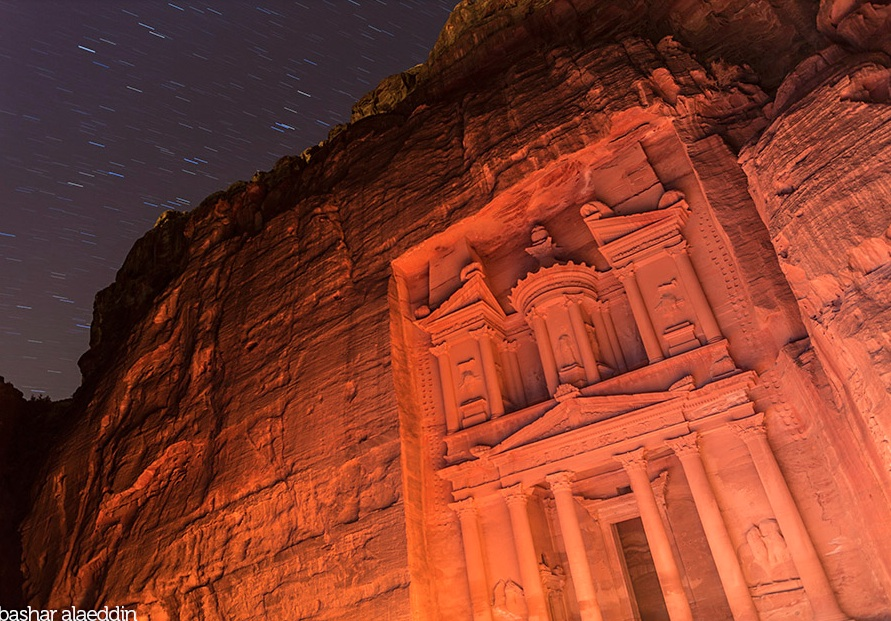 Star trails over Petra