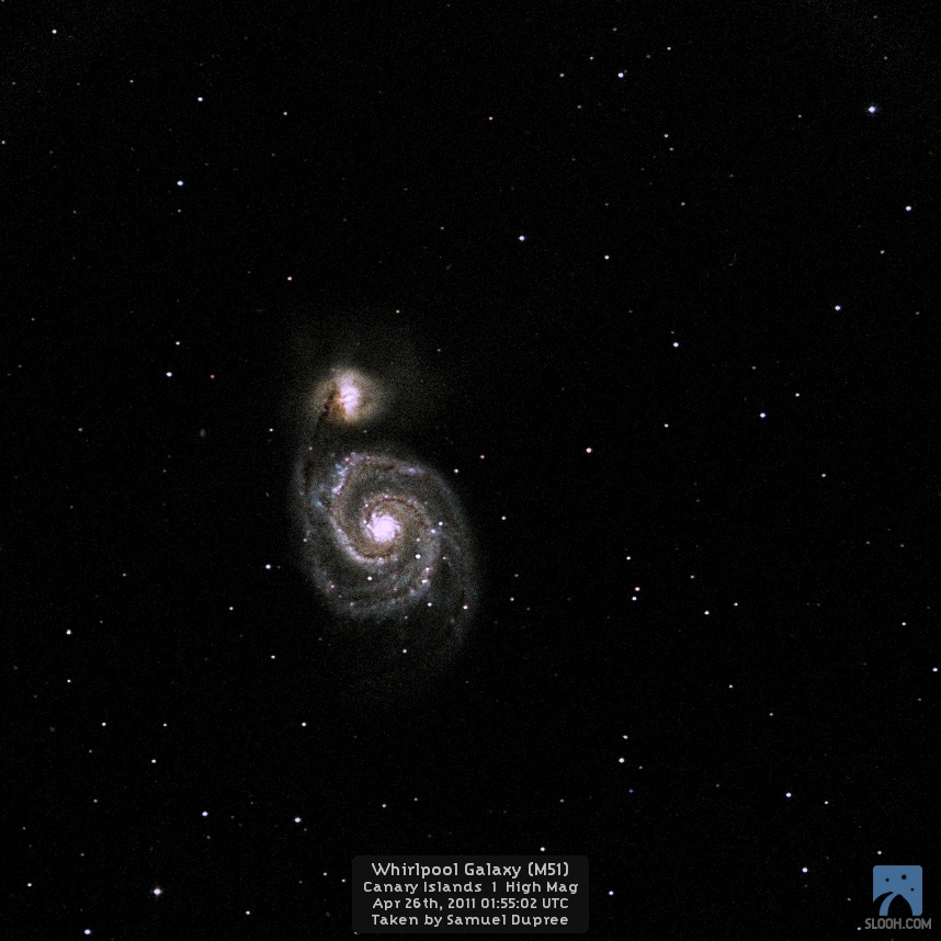 Supernovae 2011 dh in Whirlpool Galaxy M51 by Slooh Cam