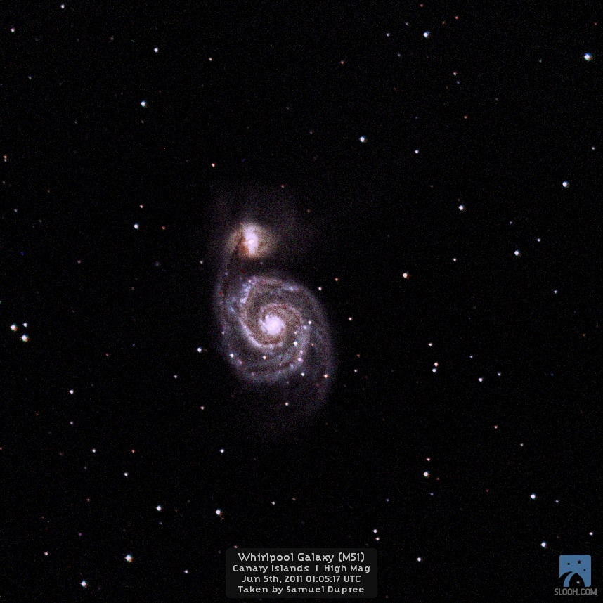 Supernovae 2011 dh in Whirlpool Galaxy M51 by Slooh Space Camera