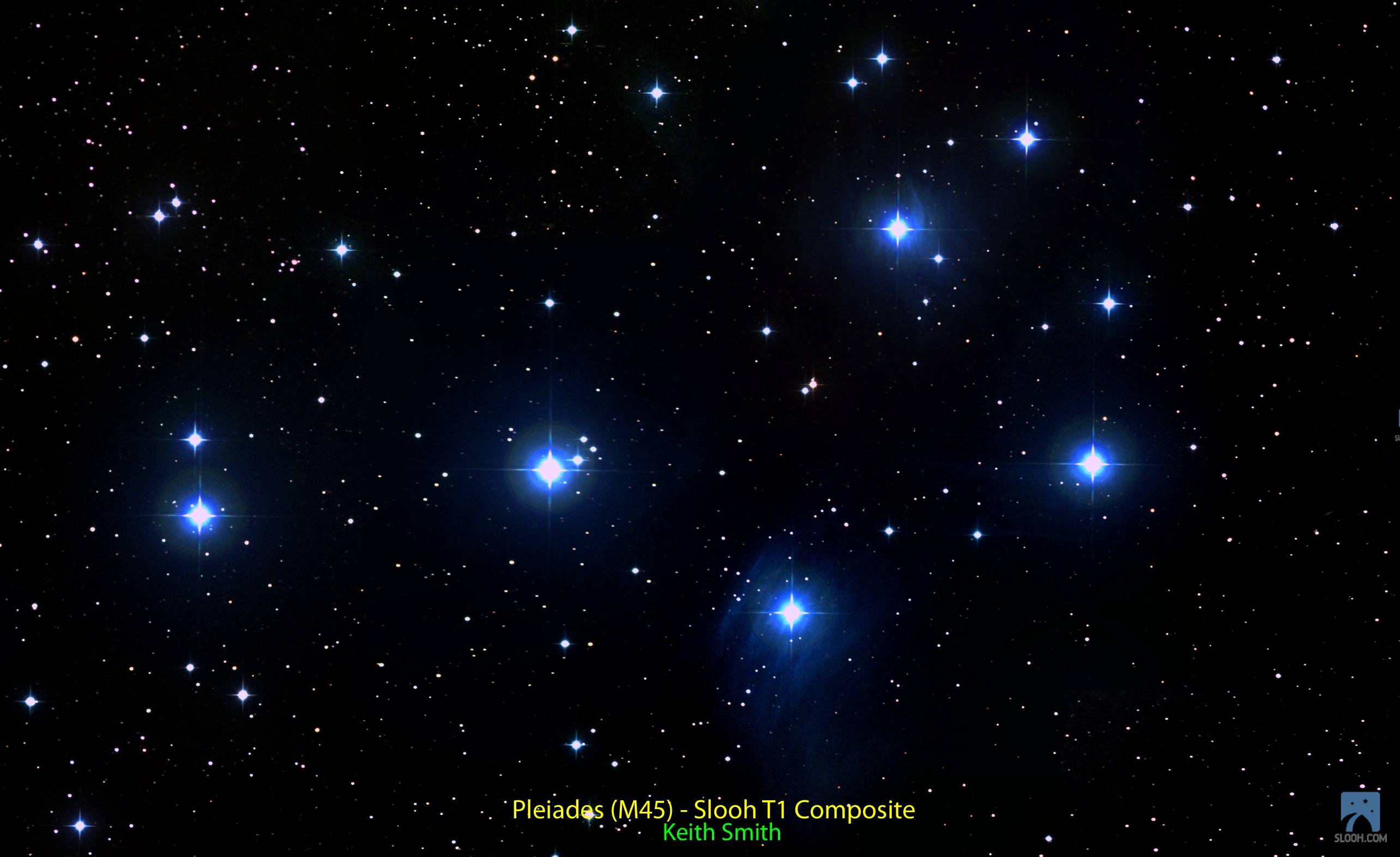 Pleiades by Slooh's T1 Telescope