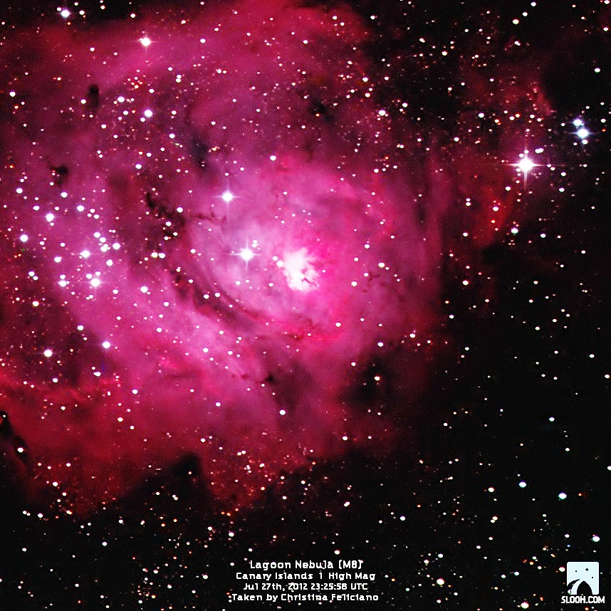Lagoon Nebula by Slooh Space Camera
