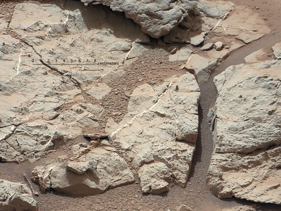 "This image of an outcrop at the ""Sheepbed"" locality, taken by NASA's Curiosity Mars rover with its right Mast Camera (Mastcam), shows show well-defined veins filled with whitish minerals, interpreted as calcium sulfate. Image released Jan. 15, 2013."
