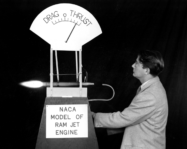 Space History Photo: NACA Model of Ramjet with Abe Silverstein