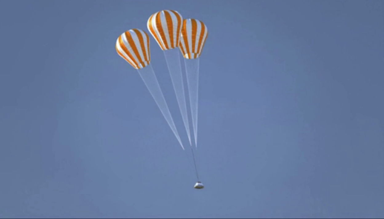 Orion Capsule 2017 Test Flight Parachute Descent