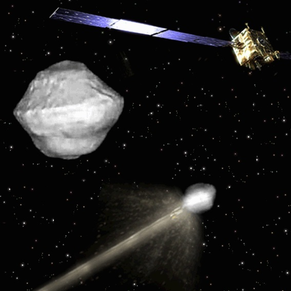 An artist's concept for the Asteroid Impact & Deflection Assessment (AIDA) mission led by the European Space Agency to intentionally strike an asteroid and test deflection capabilities that could protect Earth.