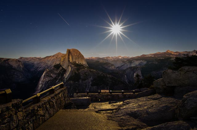 Space Station and Full Moon Glow in Yosemite Night Sky (Photo)