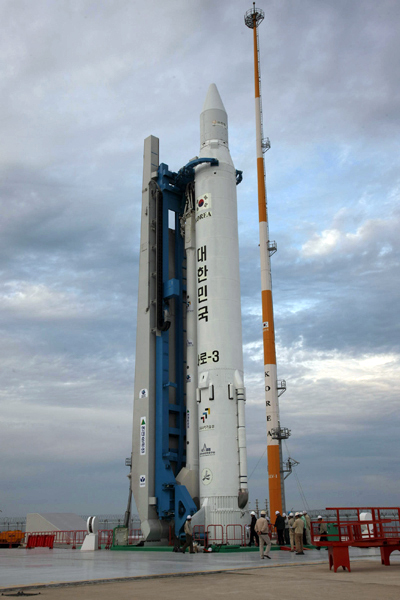 Korea Rocket Stands on Launch Pad