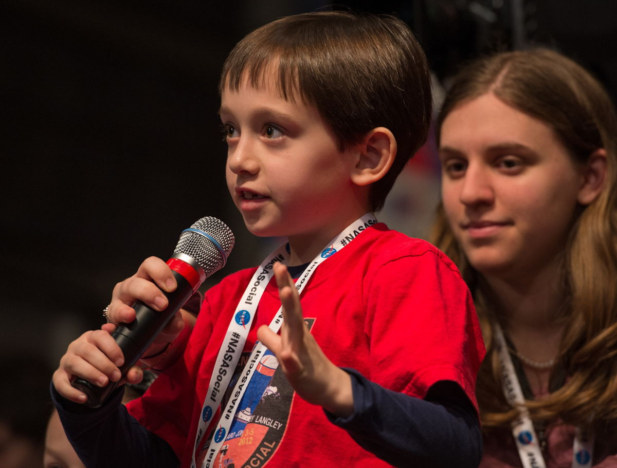 Aidan Asks a Question at the NASA Open House