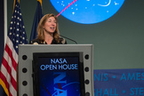 NASA Deputy Administrator Lori Garver speaks at the afternoon session of a NASA Social during activities surrounding the NASA Open House, Friday, Jan. 18, 2013, at NASA Headquarters in Washington. NASA Social followers and the general public were welcomed to NASA Headquarters Friday as part of events surrounding the inauguration of President Barack Obama.