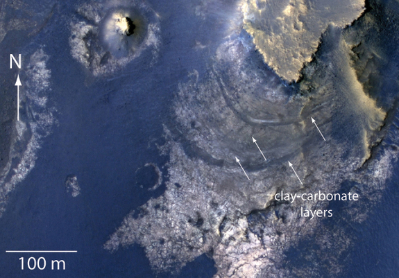 An annotated look at the huge McLaughlin Crater on Mars, showing locations of minerals and clays created by water in the ancient past. The region may have once been a groundwater lake billions of years ago. Image released Jan. 20, 2013.