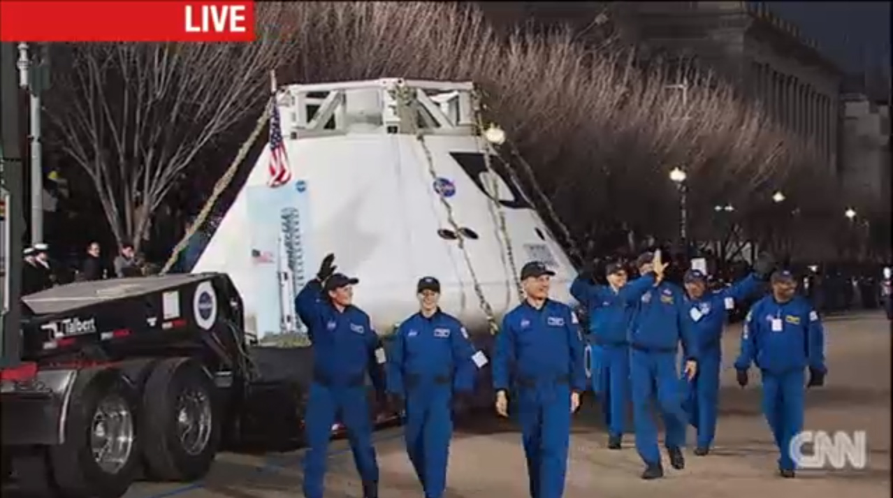 Orion Capsule Mockup and Astronauts in Inaugural Parade