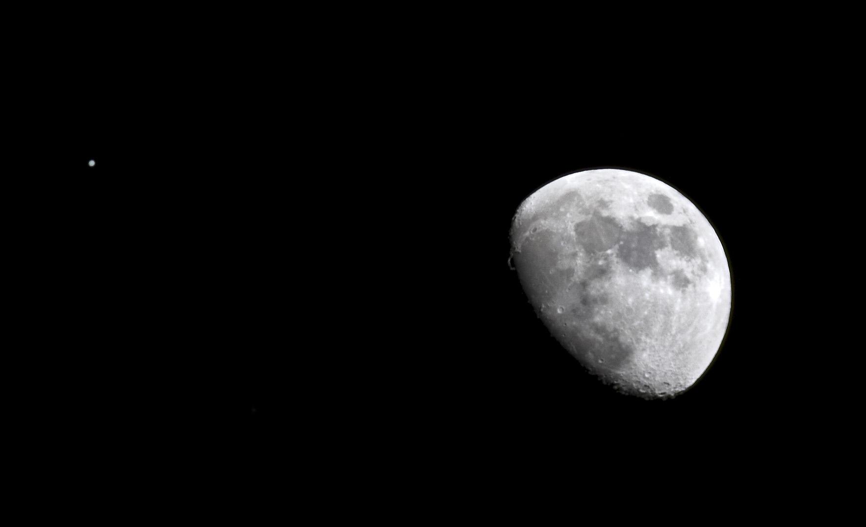 Moon and Jupiter over Idaho