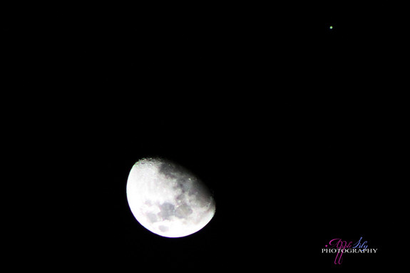 Skywatcher Apple Lily captured this photo of Jupiter near the moon on Jan. 21, 2013 during an extreme close encounter from Trinidad and Tobago.