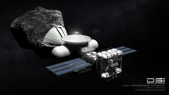 This illustration depicts Deep Space Industries' Fuel Processor class spacecraft for asteroid mining.