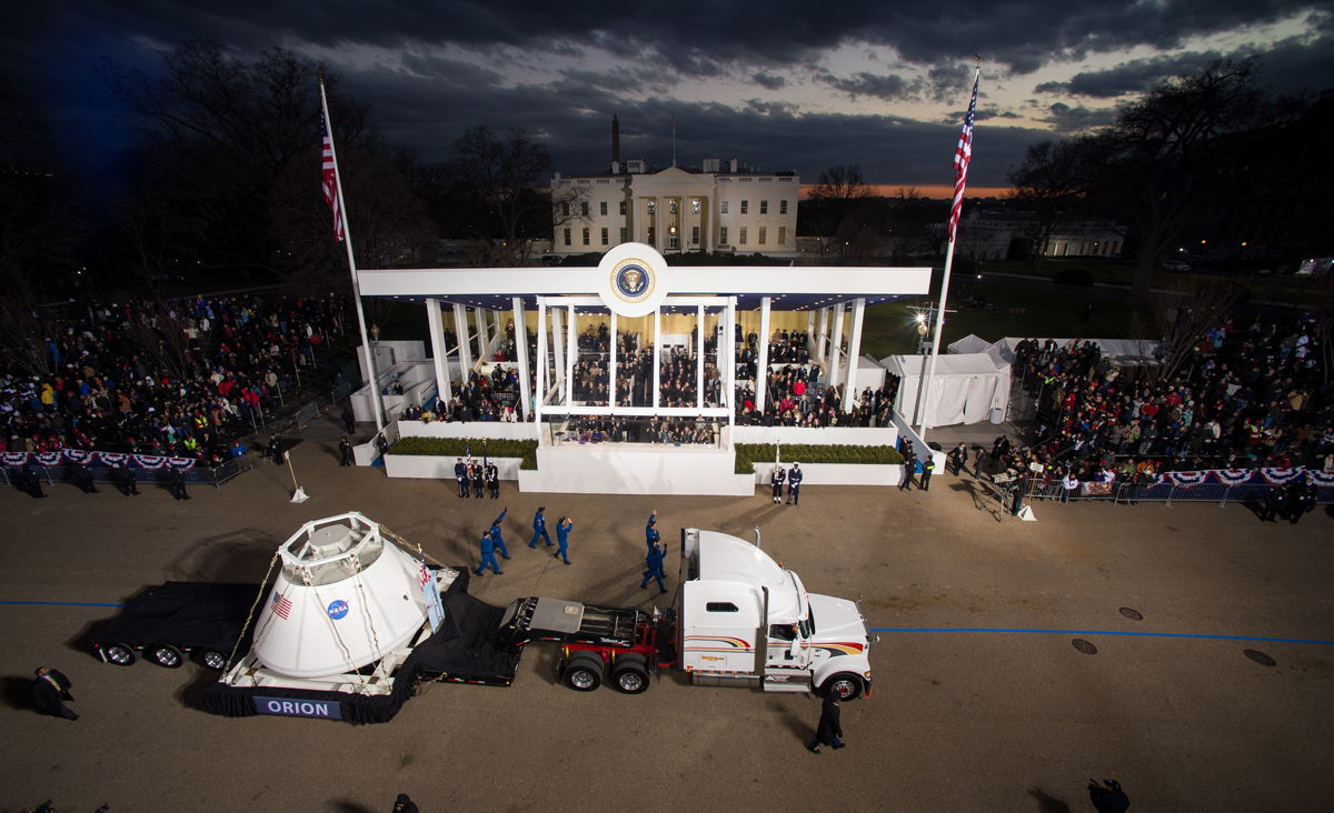 Orion Capsule Passes the Presidential Reviewing Stand