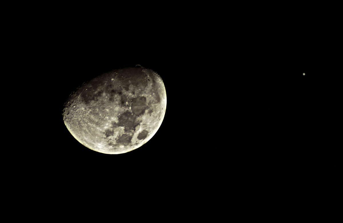 Moon and Jupiter Over Illinois