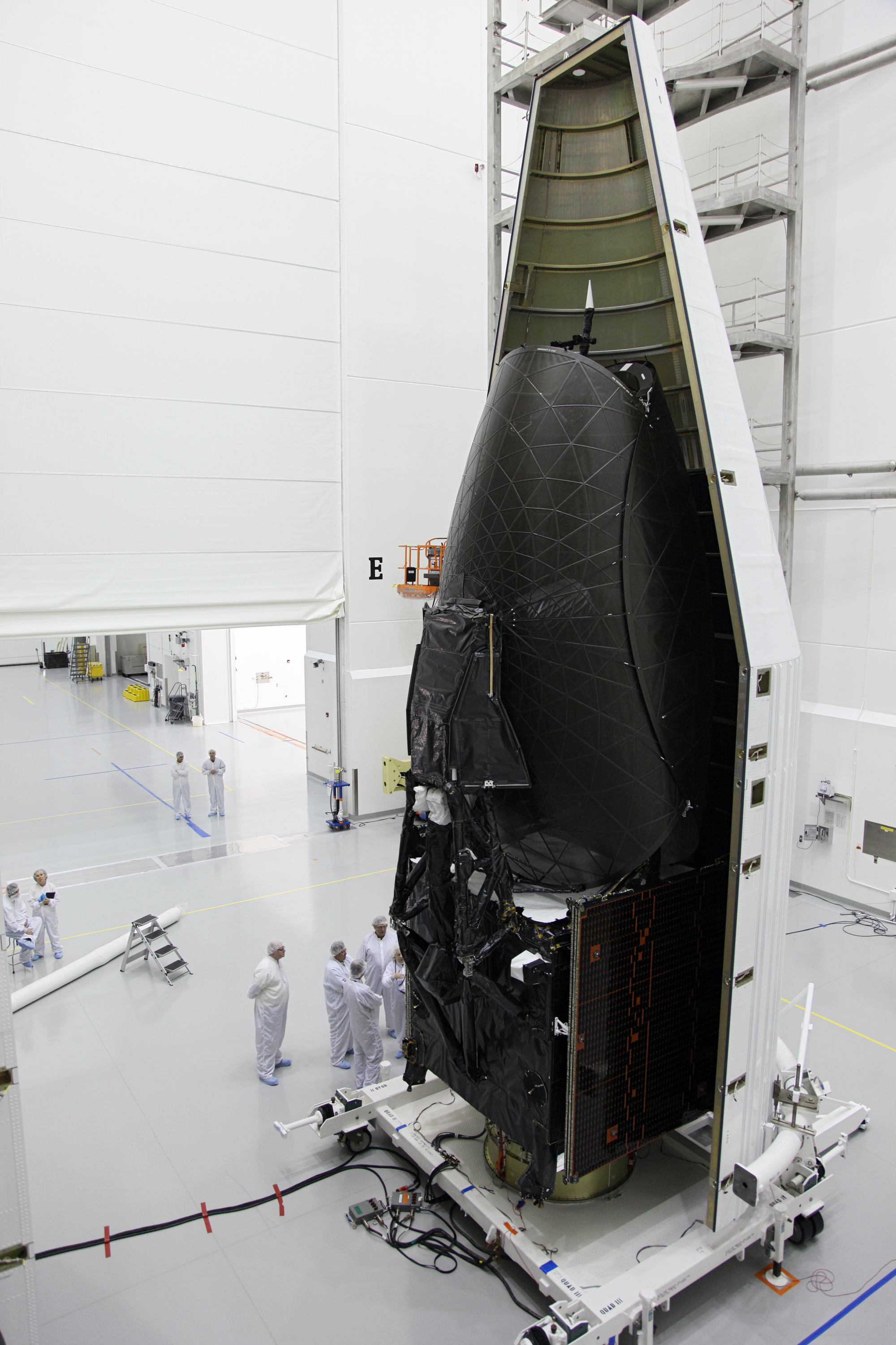 Technicians Work on NASA's Tracking and Data Relay Satellite