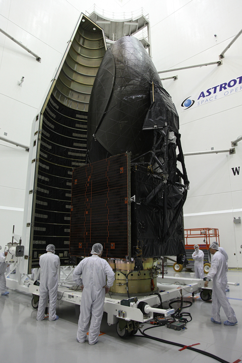 Technicians Move Half of TDRS-K Spacecraft Payload