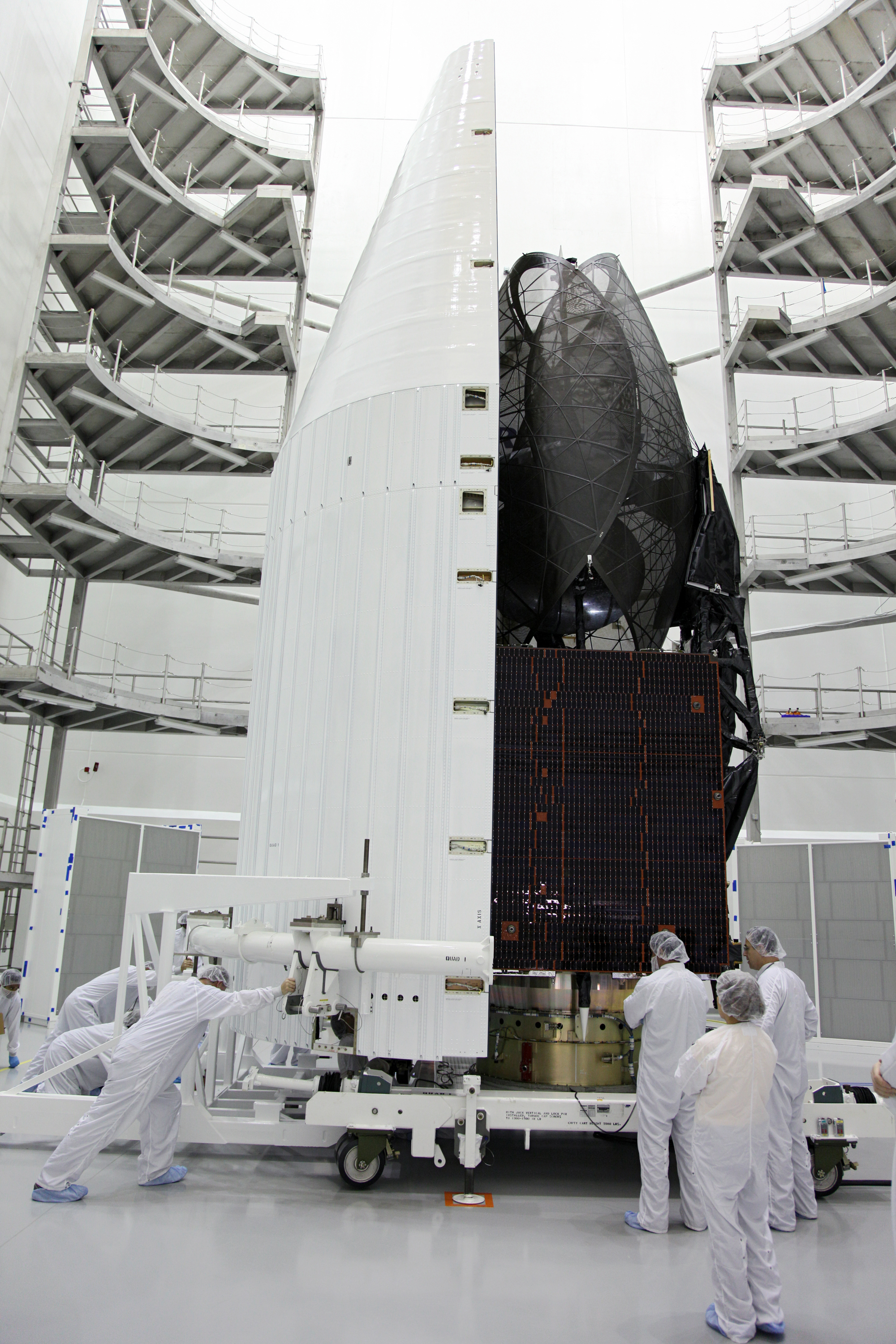 Technicians Move Payload of TDRS-K Spacecraft